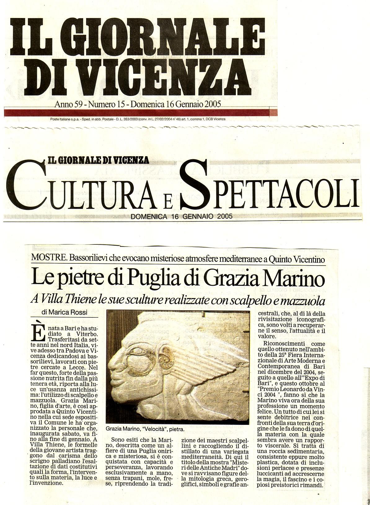 Il Giornale Di Vicenza gen.'05- di Marica Rossi