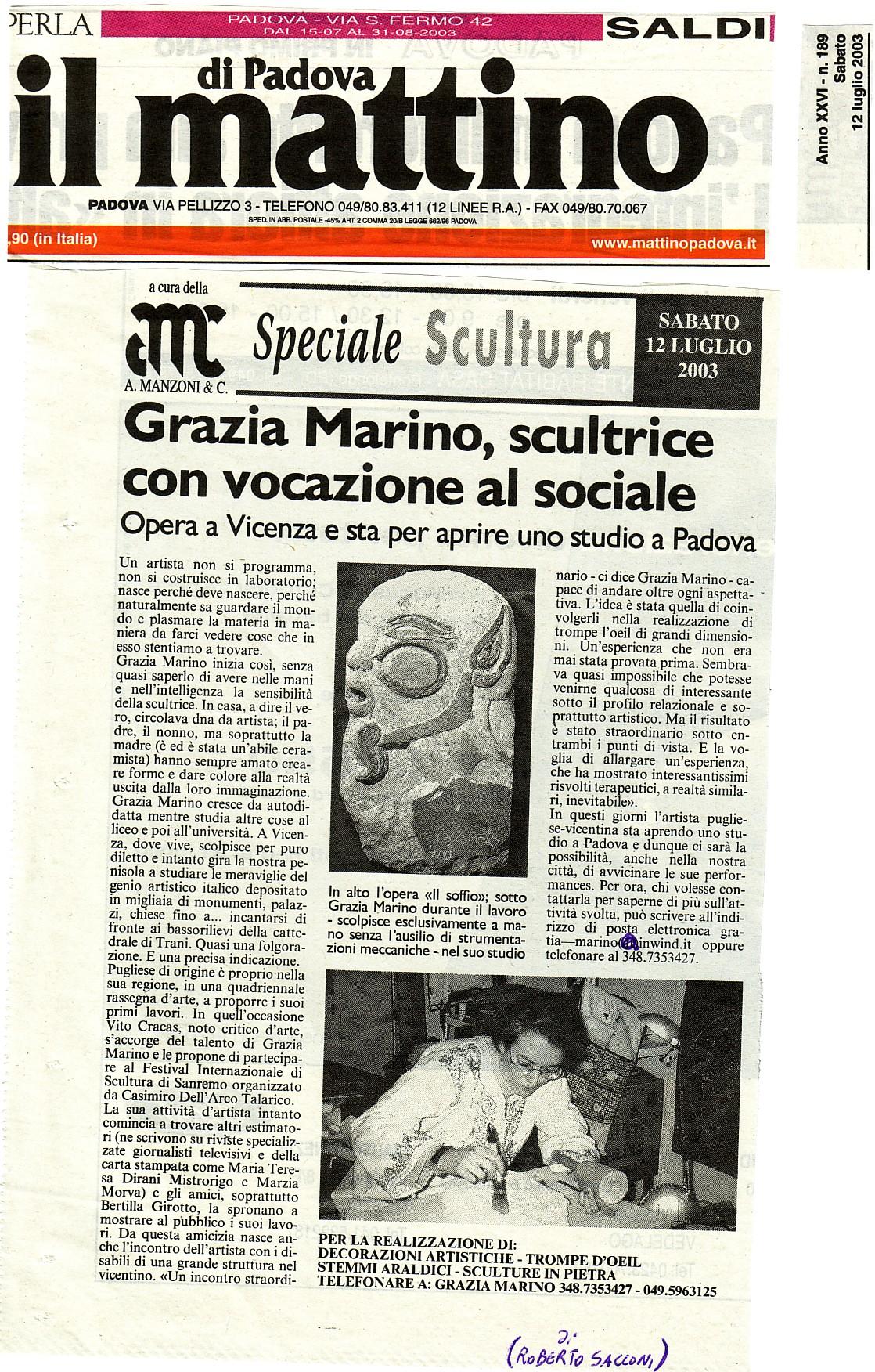 Il mattino di Padova lug.'03 R.Sacconi