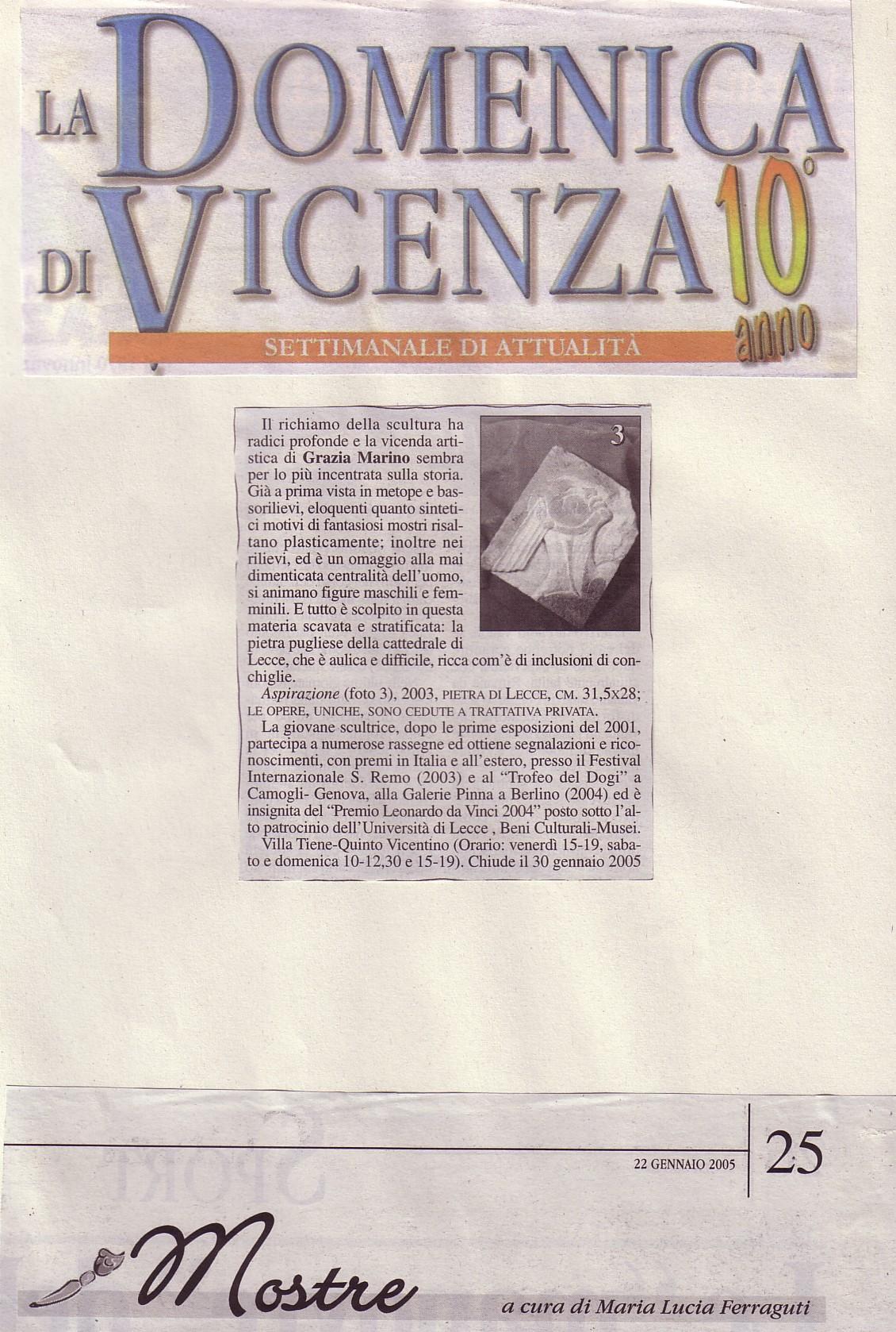 La Domenica di Vicenza gen.'05 M.Lucia Ferraguti
